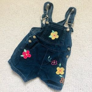 Other - Floral Jean Shorts Overalls